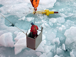 WHOI engineer in basket over ice