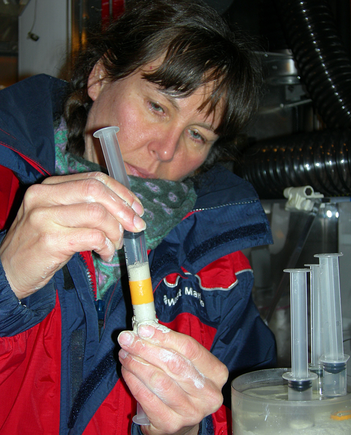Joan Bernhard preparing sediment sample