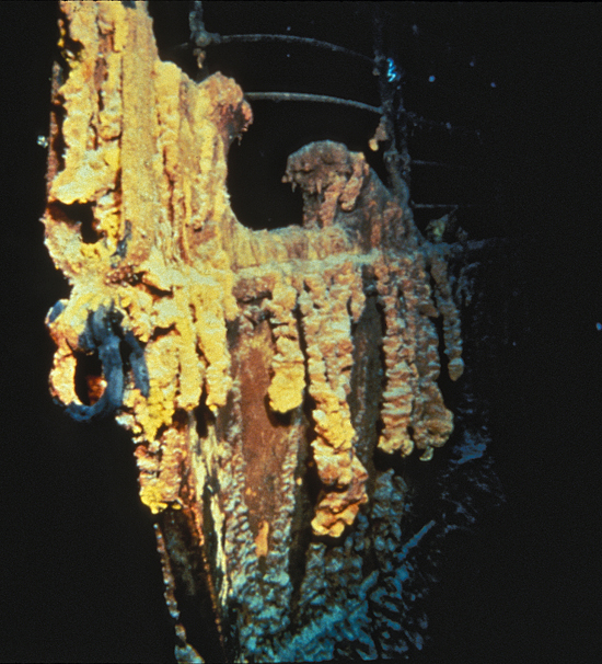 Rusticles on the wreck of Titanic