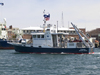 R/V Tioga joined R/V Knorr and R/V Oceanus at the WHOI dock.