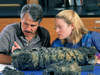 Dan Fornari and Tracey Gregg inspect a portion of a lava pillar that was generated during a 1991 eruption on the East Pacific Rise.