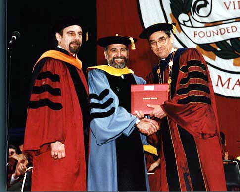 Director of WHOI with the President and a trustee of Northeastern