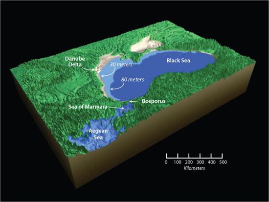 Black Sea 80 m below present sea level