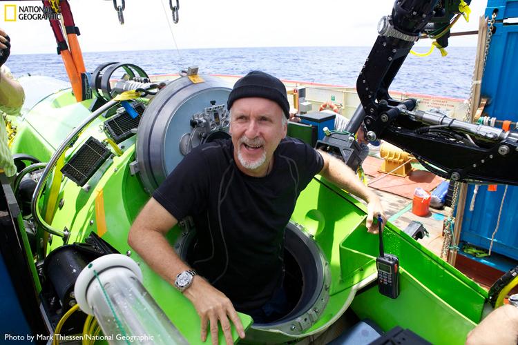 Cameron climbing out of Deepsea Challenger