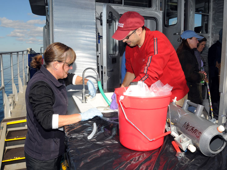 processing water samples aboard Tioga