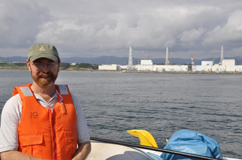 WHOI senior scientist Ken Buesseler has collected and analyzed the seawater surrounding the Fukushima Dai-ichi nuclear power plant since the 2011 disaster. As the low-level radiation travels across the Pacific, Buesseler has launched a crowd sourcing campaign and website to monitor radiation levels along the West Coast of North America. (Photo courtesy of Ken Buesseler, Woods Hole Oceanographic Institution)
