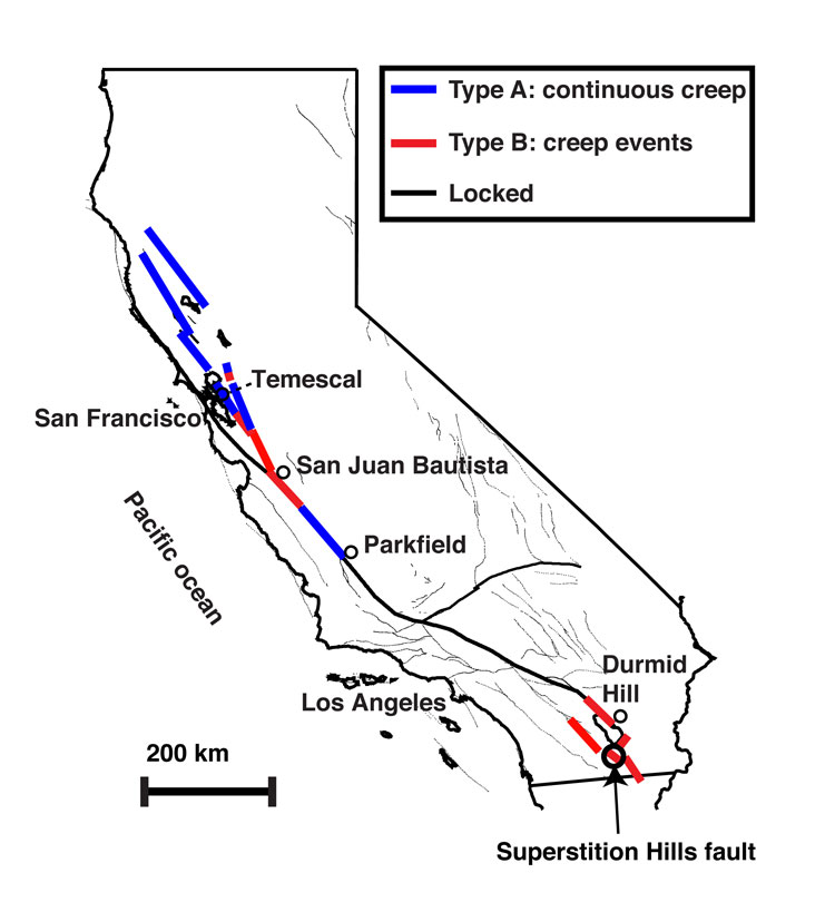 Map of San Andreas faults