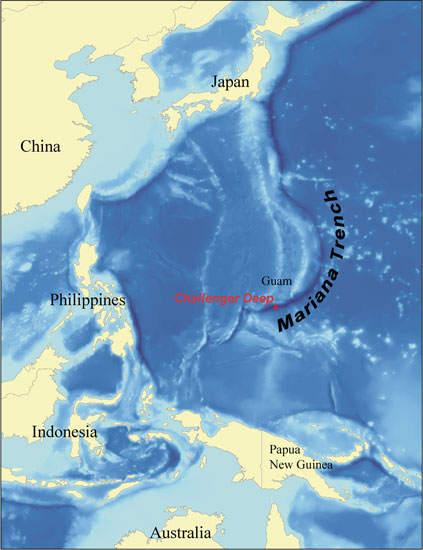Marianas trench map