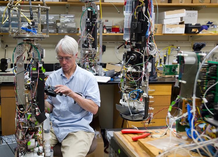 Rob Olson in imaging flow cytobot lab