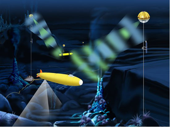 illustration of optical modem operating in the depths.