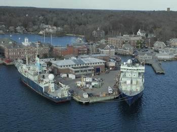 aerial shot of WHOI dock