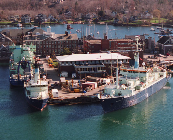 aerial shot of WHOI dock w/three ships