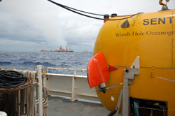 Funded by NSF and developed and operated by WHOI, Sentry is capable of exploring the ocean down to 14,764 feet (4,500 meters) depth. Equipped with its advanced analytical systems, it was able to crisscross plume boundaries 19 times to help determine the trapped plume?s size, shape, and composition.