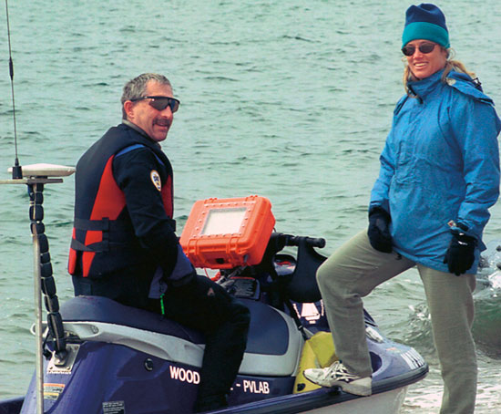 Steve Elgar and Britt Raubenheimer refueling during a Navy-sponsored project to map the seafloor.