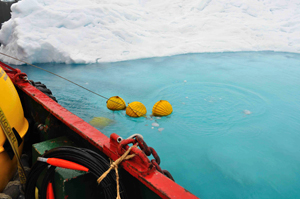 A mooring carrying temperature and salinity recorders is recovered near an iceberg after two years in Sermilik Fjord, where Helheim Glacier drains.