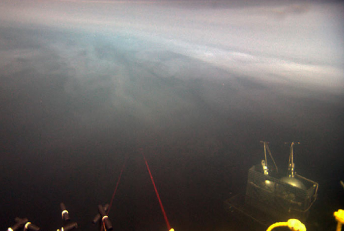 swirly white material at top of halocline on a DHAB in the Mediterranean, shot by ROV Jason