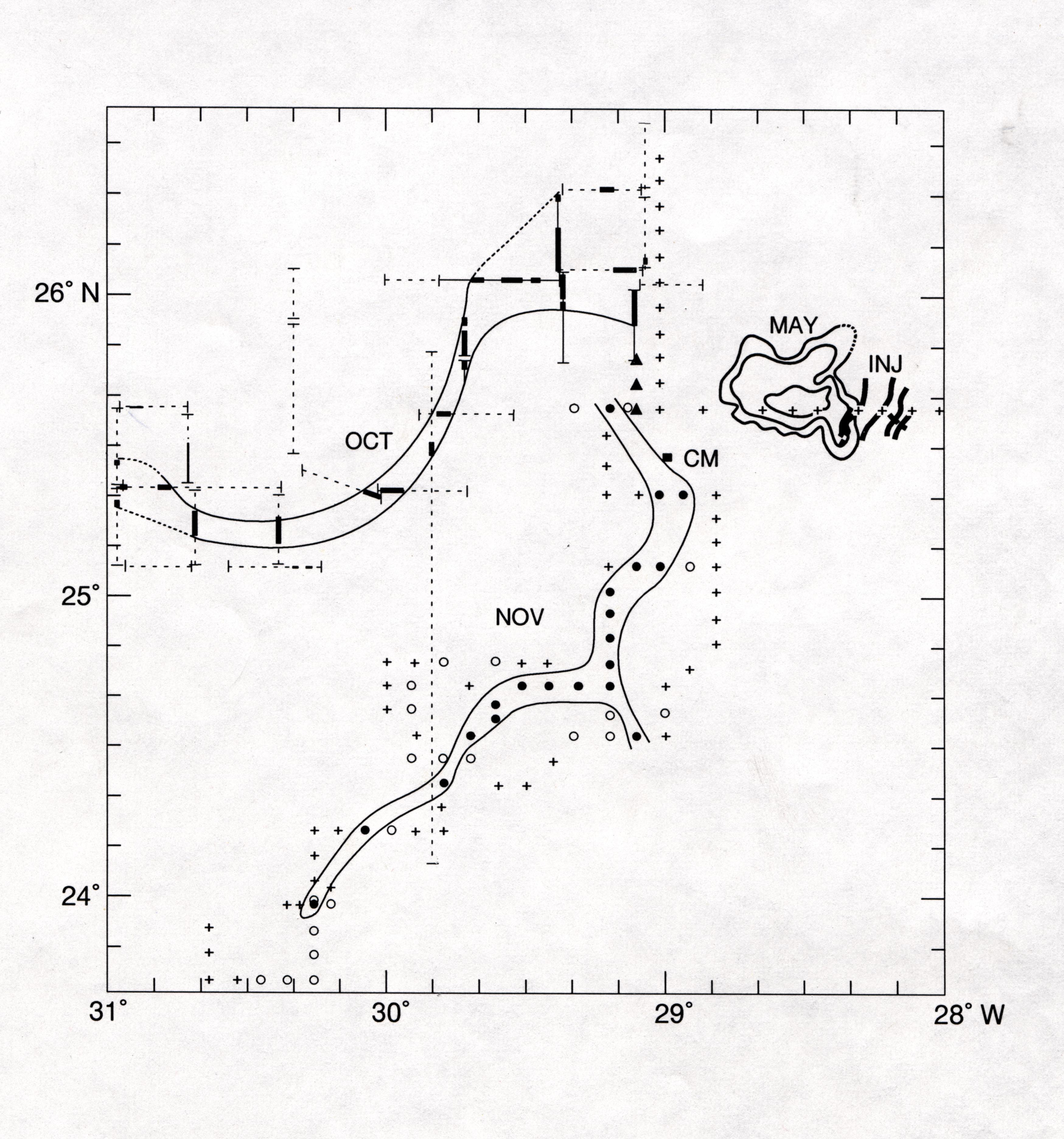 Graph of Tracer Patch Studied During Oceanus Cruises in 1992