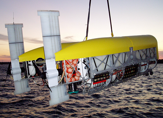 Nereus HROV shown here in AUV mode during initial dock test.