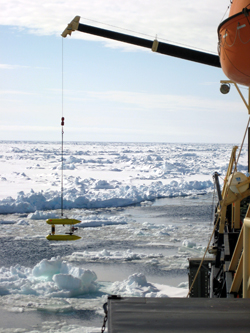 The Jaguar AUV is lowered into the Arctic Ocean from the icebreaker Oden during a June 2007 engineering test.