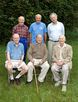 Six of the seven founding members of the Geophysical Fluid Dynamics Program