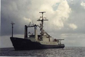 Oceanus at sea, before her midlife re-fit.