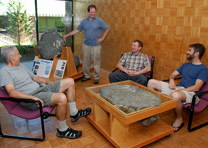 Some of the serendipitously snagged lava now rests in the foyer of the Clark Laboratory at WHOI.