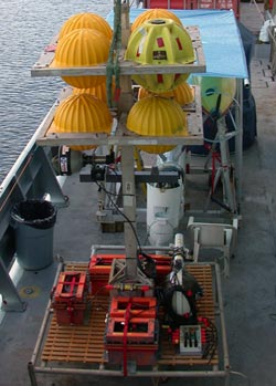 The deep-sea light post, on deck this September on the research vessel Thomas G. Thompson