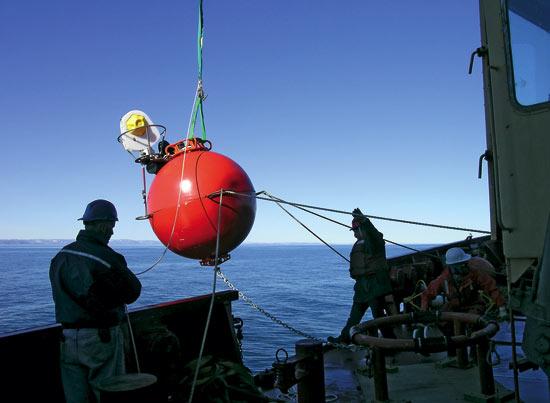 big red flotation sphere
