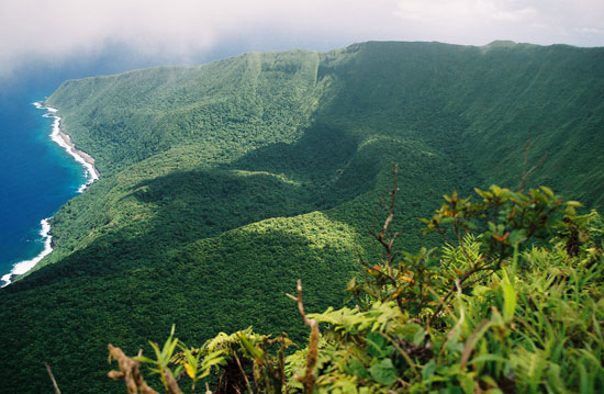 Rising 1,000 meters (3,000 feet) above the Samoan island of Ta'u, Mount Lata is an active volcano.