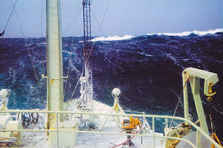 The freezing wash of large Labrador Sea waves like this one resulted in ice buildup.