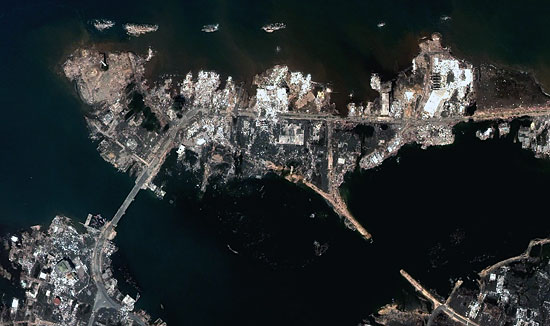 This December 28, 2004 image of Banda Aceh shows the total devastation from the tsunami wave.