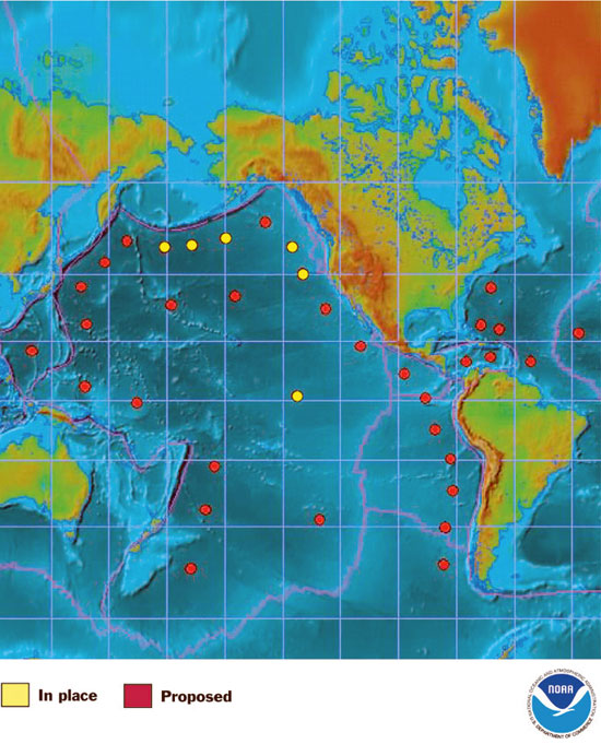 The tsunami monitoring network proposed by the Bush