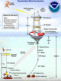Schematic diagram of a DART buoy.