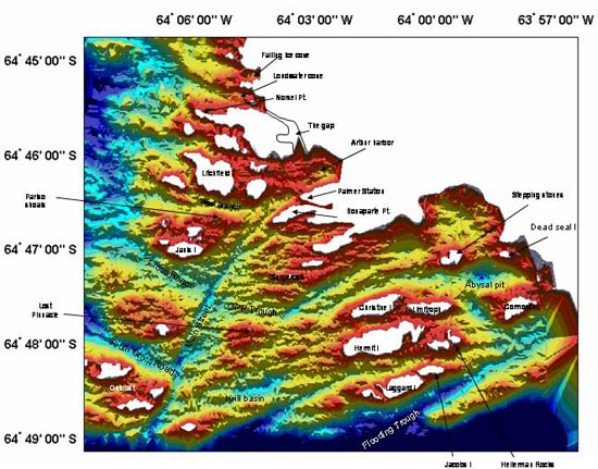 A computer generated map of the seafloor around Palmer Station shows deep troughs scoured by receding glaciers. The map is based on more than 180,000 soundings taken from the inflatables.