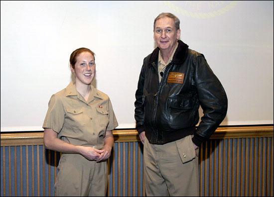 Ensign Allison Berg chats with Rear Admiral Steven Tomaszeski