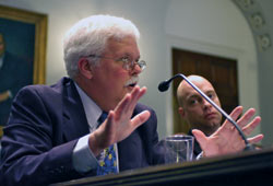 Terry Joyce (left) and Rob Evans testify before Congress.