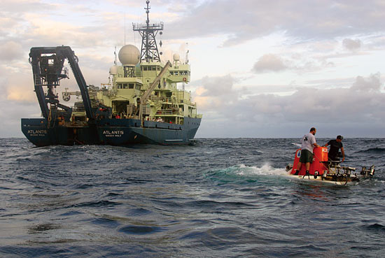 The research vessel Atlantis serves as the support vessel for Alvin operations.