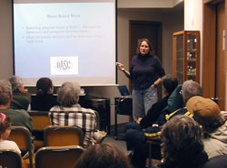 Carin Ashjian, a biologist and fellow of the WHOI Coastal Ocean Institute, updates the Barrow community about the 2005 coastal ocean fieldwork at a public lecture.
