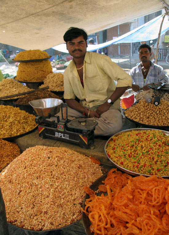 A market in the village of Lonar sold grains, fruits, vegetables, and unusual-looking sweets, such as these.
