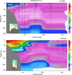 Cross section plots comparing water temperatures on a transect line east of Point Barrow