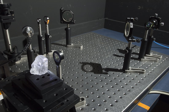 Lens and lasers set up in the laboratory