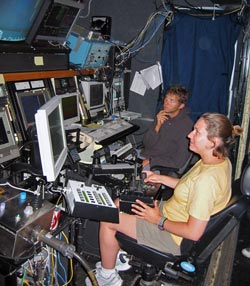 Anna Michel at controls of Jason ROV