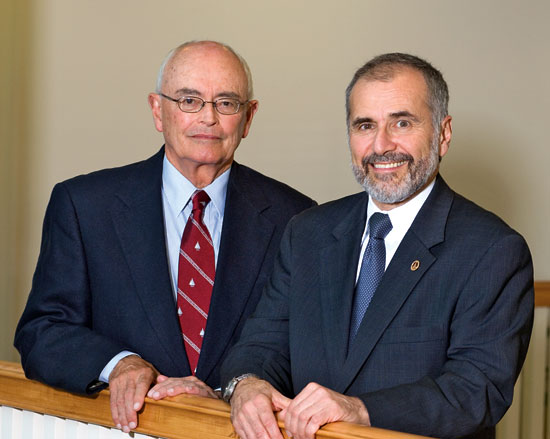 Bob Gagosian, right, with Jim Moltz, chairman of the Board of Trustees.