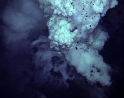 In April, cameras mounted on the vehicle Jason captured huge plumes of gas and spitting rocks emitted from a submarine volcano south of Japan. (Photo courtesy of the Submarine Ring of Fire 2006 Exploration, NOAA Vents Program)