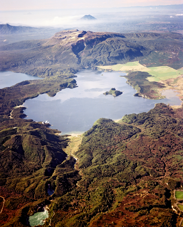 aerial view of Lake Rotomahana, Mount Tarawera, and the rift from the 1886 eruption