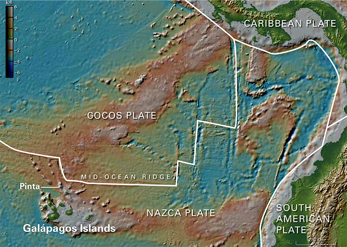 The Galápagos region off the west coast of South America is especially interesting and complicated because it lies near the boundaries of two of Earth's tectonic plates.