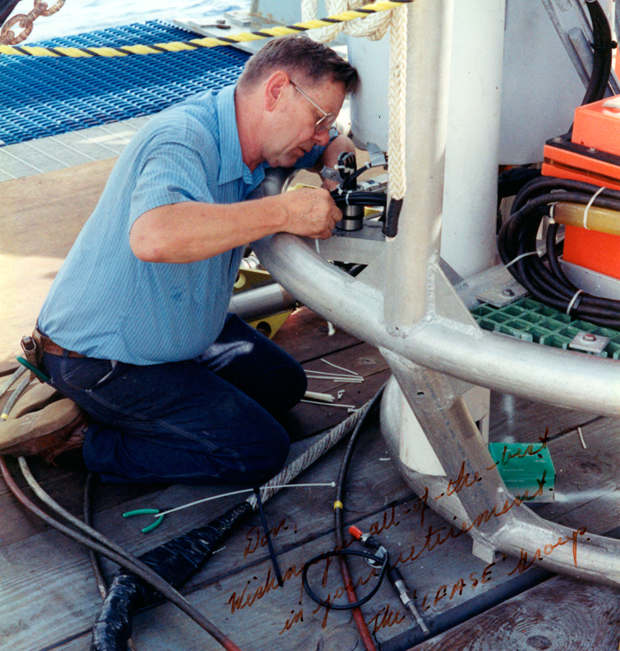 Don Koelsch adjusting the NOBEL device