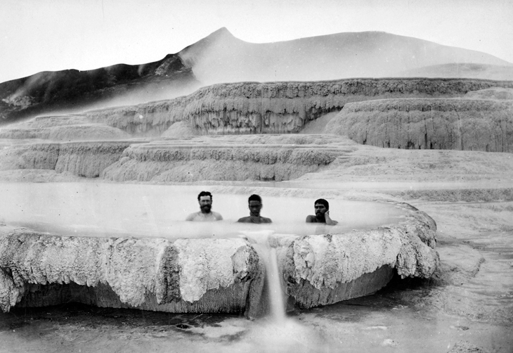 bathers in hot pool at White Terraces