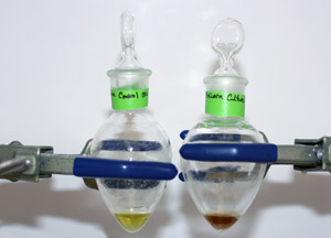 Flasks with colored fluid