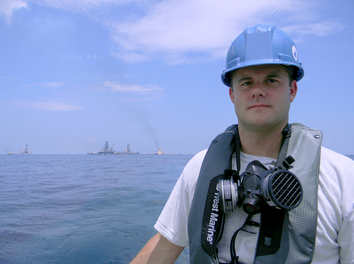 WHOI research associate Sean Sylva at the scene of the disaster.